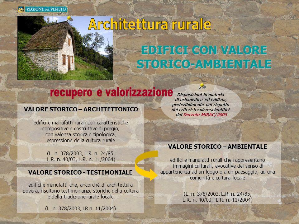 Architettura rurale EDIFICI CON VALORE STORICO-AMBIENTALE