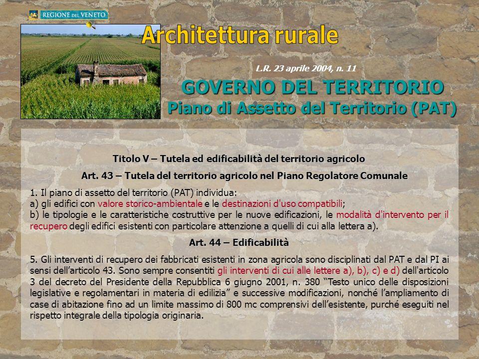 Architettura rurale GOVERNO DEL TERRITORIO