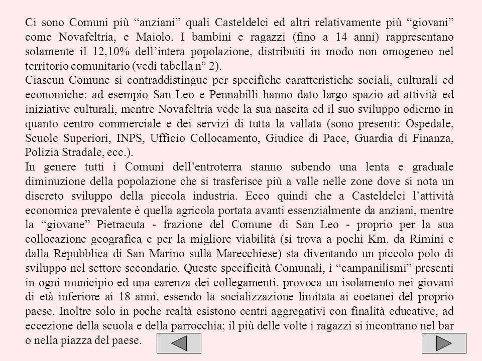 Ci sono Comuni più anziani quali Casteldelci ed altri relativamente più giovani come Novafeltria, e Maiolo. I bambini e ragazzi (fino a 14 anni) rappresentano solamente il 12,10% dell'intera popolazione, distribuiti in modo non omogeneo nel territorio comunitario (vedi tabella n° 2).