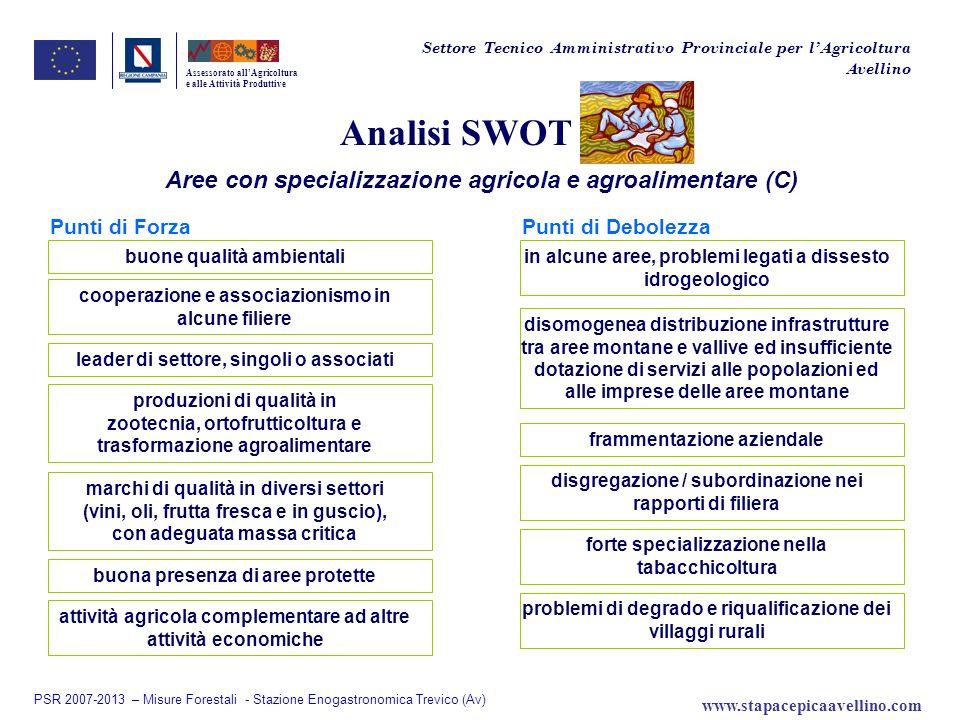 Analisi SWOT Aree con specializzazione agricola e agroalimentare (C)