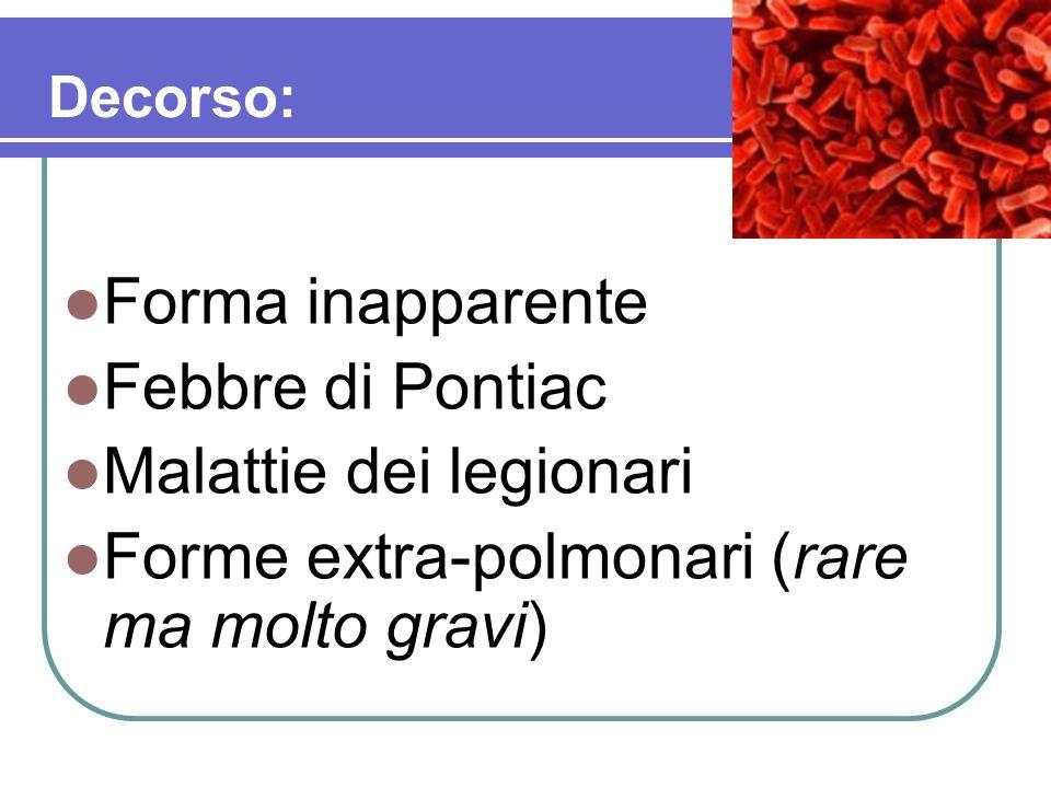 Malattie dei legionari Forme extra-polmonari (rare ma molto gravi)
