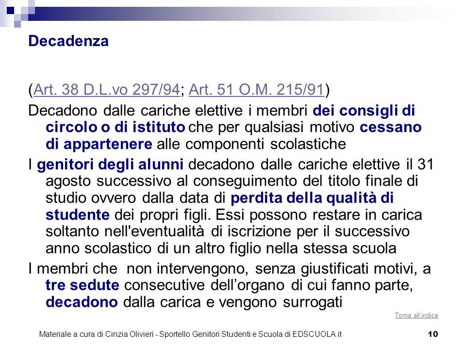 Decadenza (Art. 38 D.L.vo 297/94; Art. 51 O.M. 215/91)