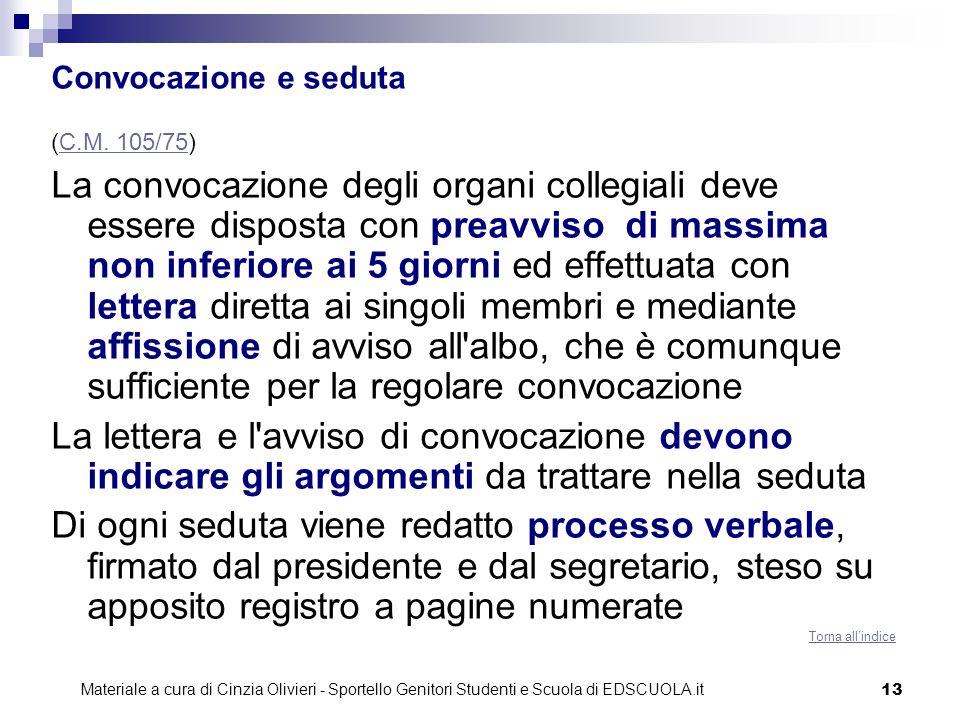 C.O. Convocazione e seduta. (C.M. 105/75)