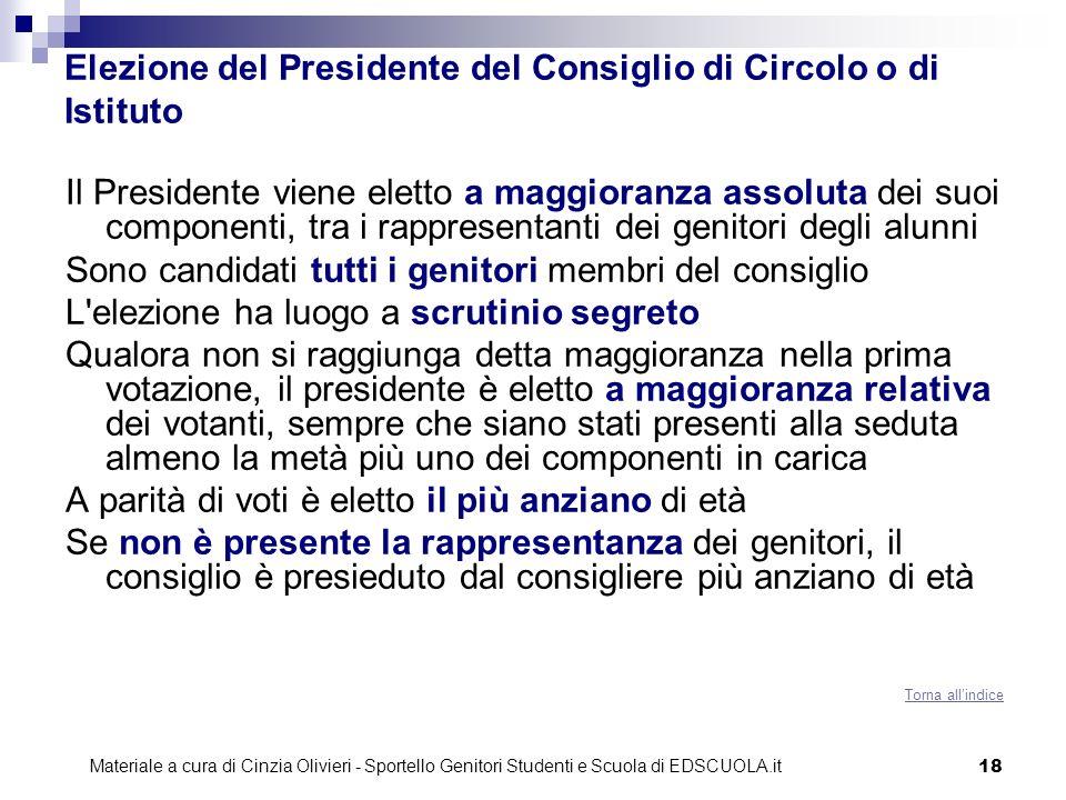 Elezione del Presidente del Consiglio di Circolo o di Istituto