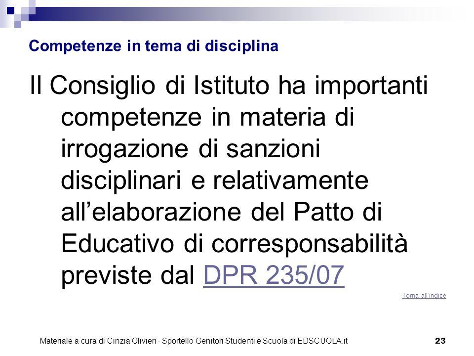 Competenze in tema di disciplina