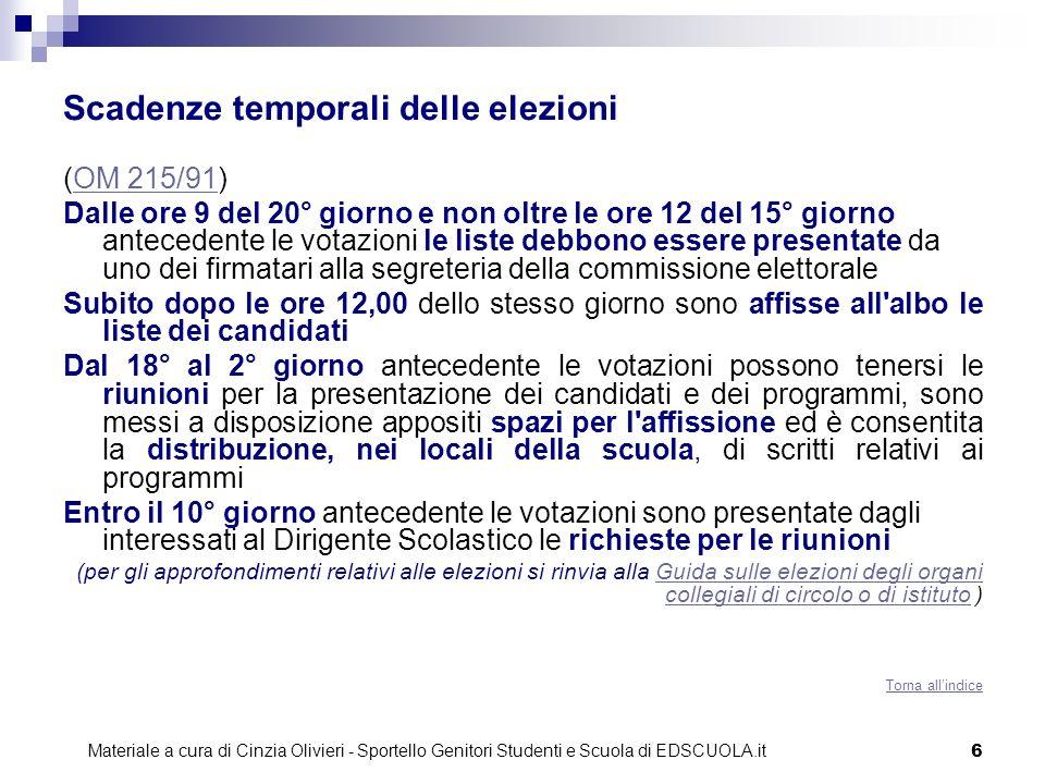 Scadenze temporali delle elezioni