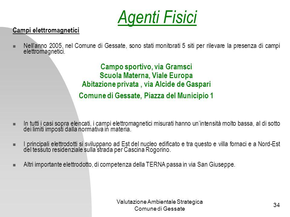 Agenti Fisici Campo sportivo, via Gramsci Scuola Materna, Viale Europa