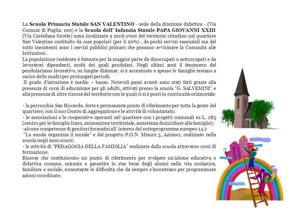 La Scuola Primaria Statale SAN VALENTINO - sede della direzione didattica - (Via Comuni di Puglia, 100) e la Scuola dell' Infanzia Statale PAPA GIOVANNI XXIII (Via Castellana Grotte) sono localizzate a nord-ovest del territorio cittadino nel quartiere San Valentino costituito da case popolari (per il 90%) , da pochi servizi essenziali ma del tutto inesistenti sono i servizi pubblici primari che possano avvicinare la Comunità alle Istituzioni .