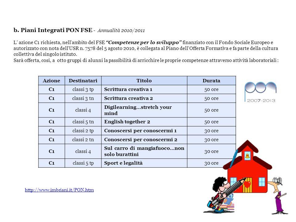 b. Piani Integrati PON FSE - Annualità 2010/2011