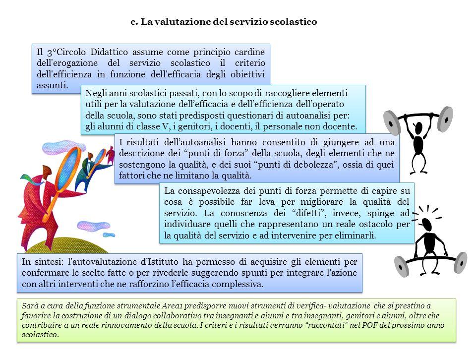 c. La valutazione del servizio scolastico