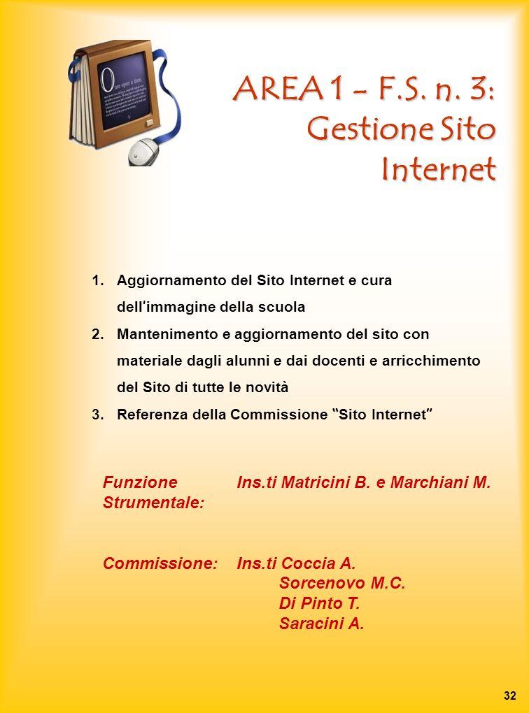 AREA 1 - F.S. n. 3: Gestione Sito Internet