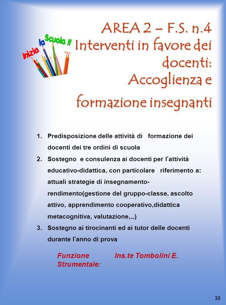 AREA 2 – F.S. n.4 Interventi in favore dei docenti: Accoglienza e formazione insegnanti