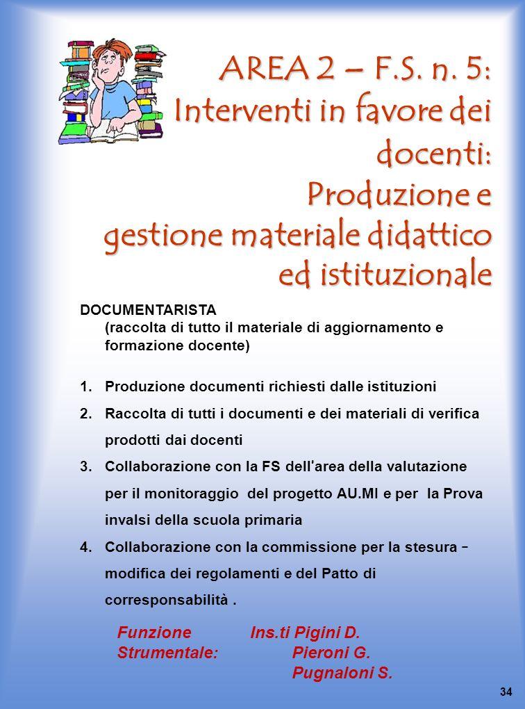 AREA 2 – F.S. n. 5: Interventi in favore dei docenti: Produzione e gestione materiale didattico ed istituzionale