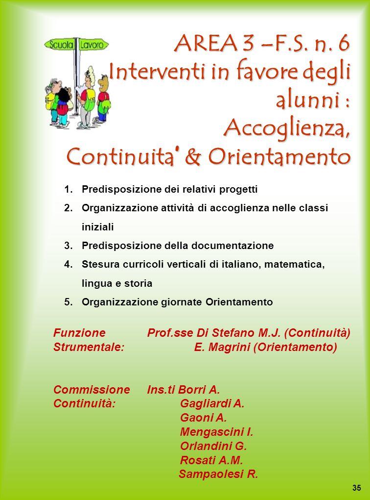AREA 3 –F.S. n. 6 Interventi in favore degli alunni : Accoglienza, Continuita' & Orientamento