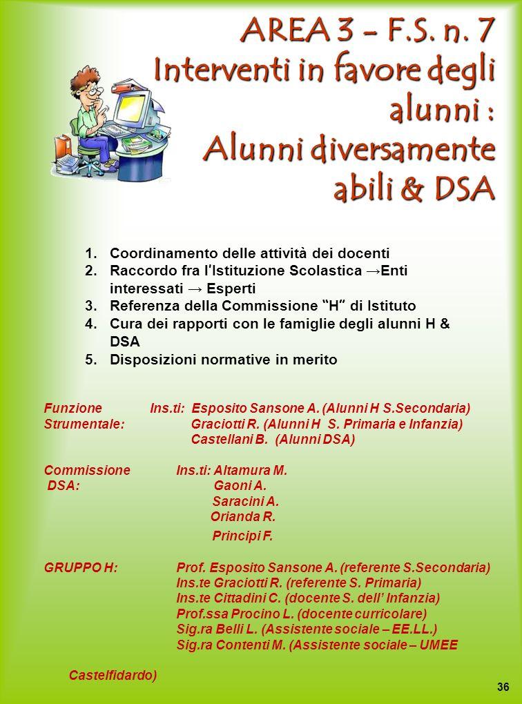 AREA 3 - F.S. n. 7 Interventi in favore degli alunni : Alunni diversamente abili & DSA