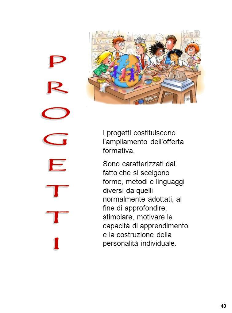 PROGETTI I progetti costituiscono l'ampliamento dell'offerta formativa.