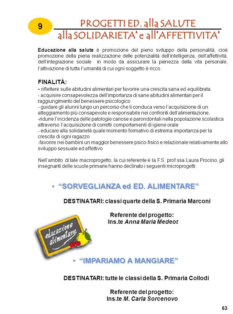 PROGETTI ED. alla SALUTE alla SOLIDARIETA' e all'AFFETTIVITA'