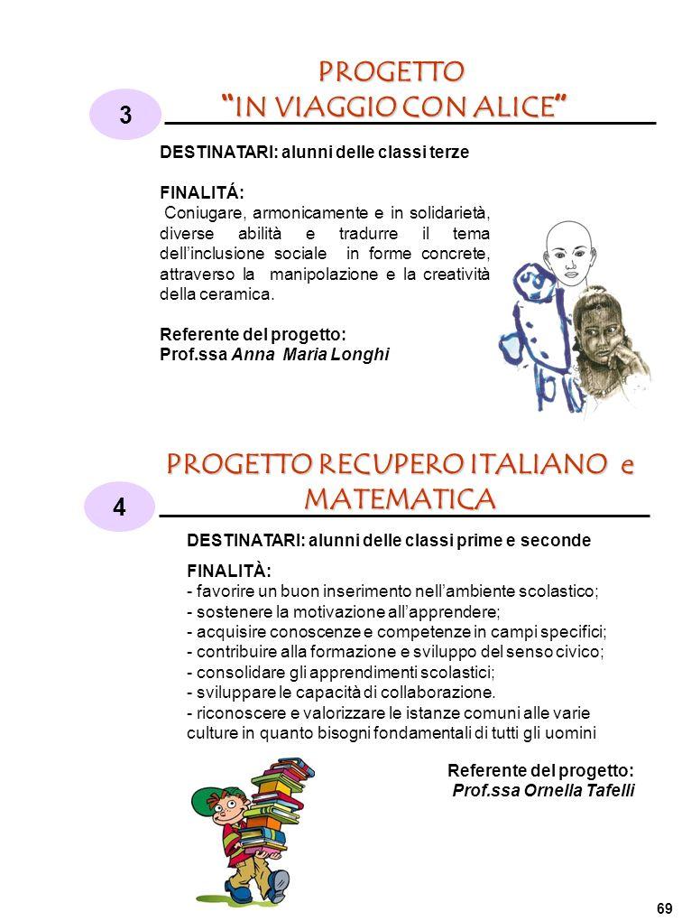 PROGETTO RECUPERO ITALIANO e MATEMATICA