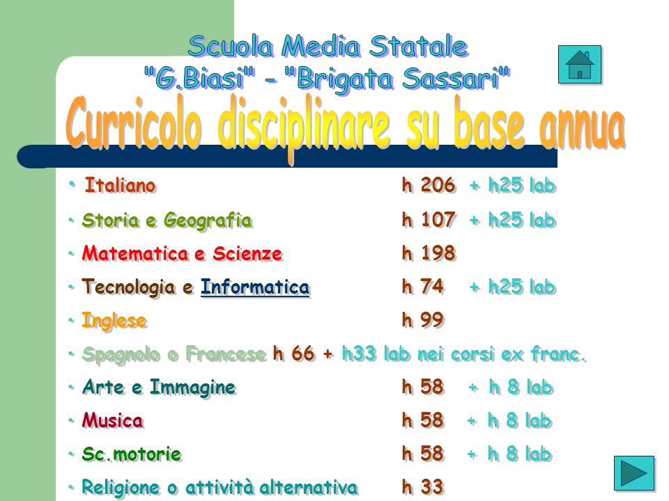 Curricolo disciplinare su base annua