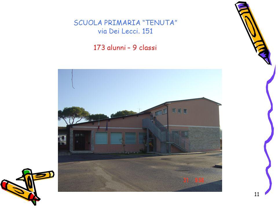 SCUOLA PRIMARIA TENUTA via Dei Lecci. 151 173 alunni – 9 classi