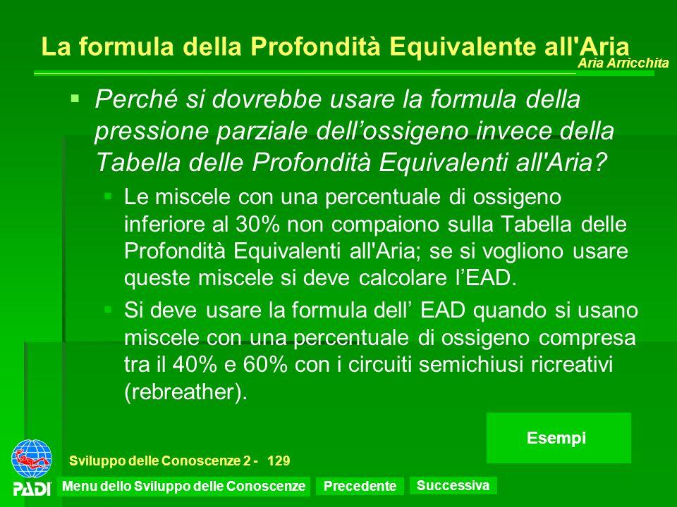 La formula della Profondità Equivalente all Aria