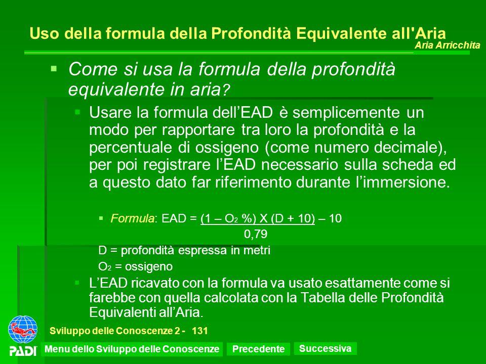 Uso della formula della Profondità Equivalente all Aria