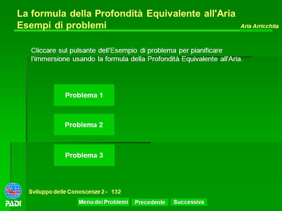La formula della Profondità Equivalente all Aria Esempi di problemi