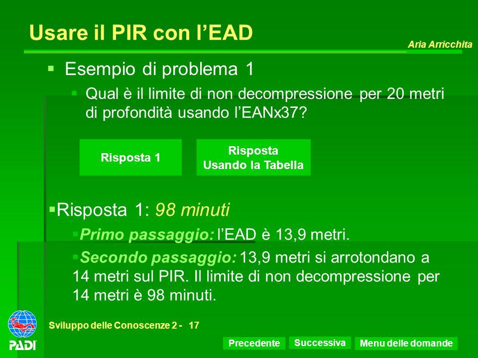 Usare il PIR con l'EAD Esempio di problema 1 Risposta 1: 98 minuti