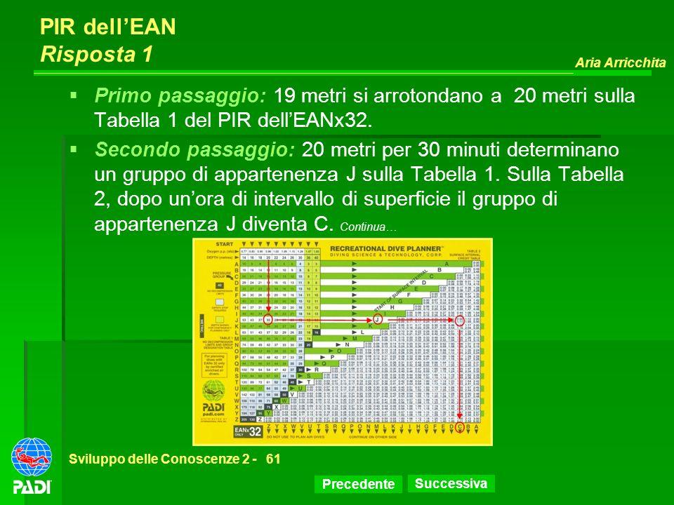 PIR dell'EAN Risposta 1 Primo passaggio: 19 metri si arrotondano a 20 metri sulla Tabella 1 del PIR dell'EANx32.