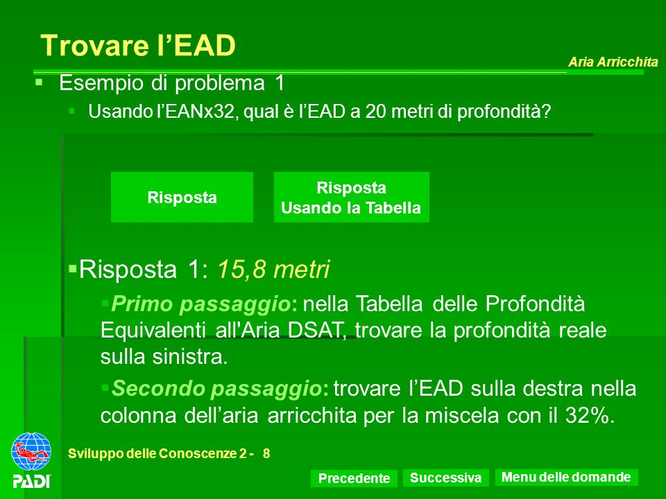 Trovare l'EAD Risposta 1: 15,8 metri Esempio di problema 1