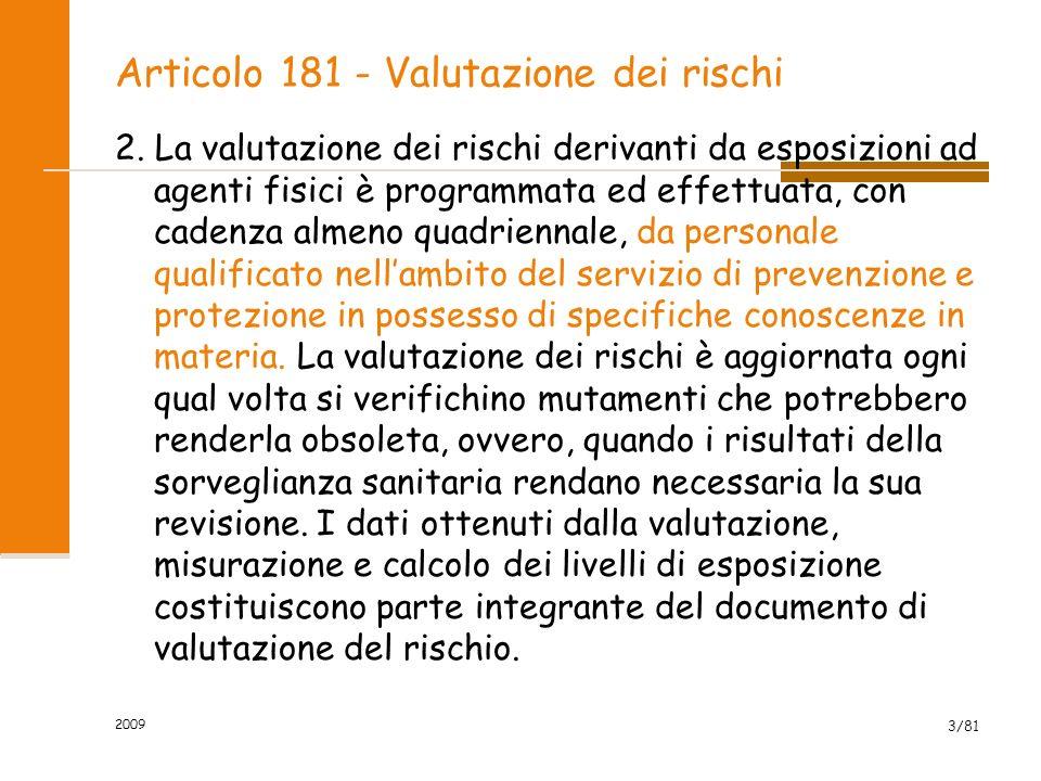 Articolo 181 - Valutazione dei rischi