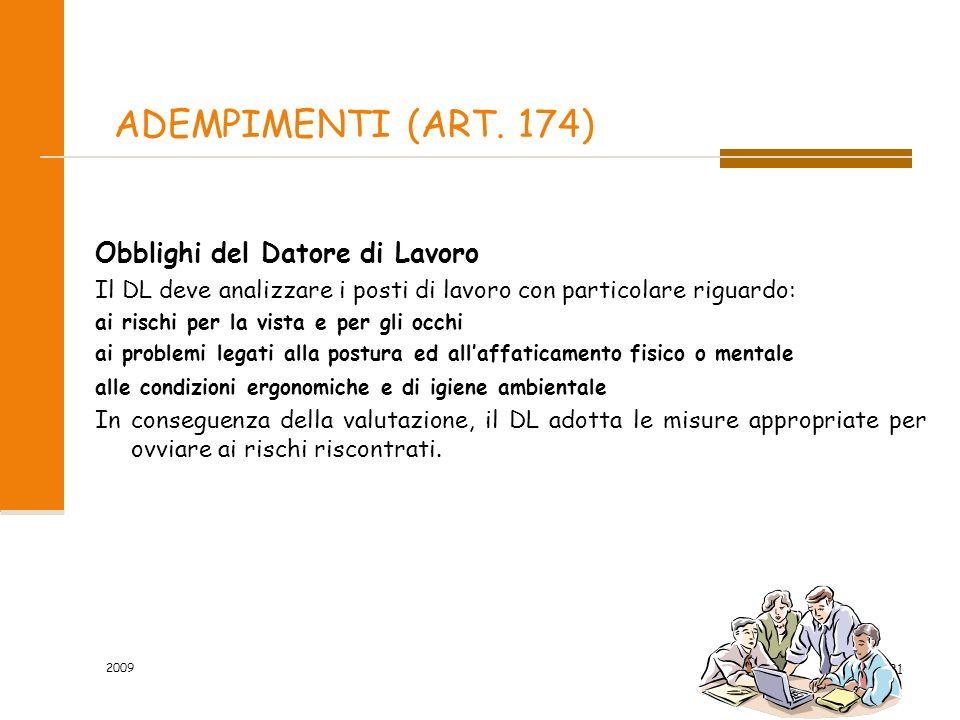 ADEMPIMENTI (ART. 174) Obblighi del Datore di Lavoro
