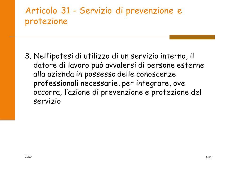 Articolo 31 - Servizio di prevenzione e protezione