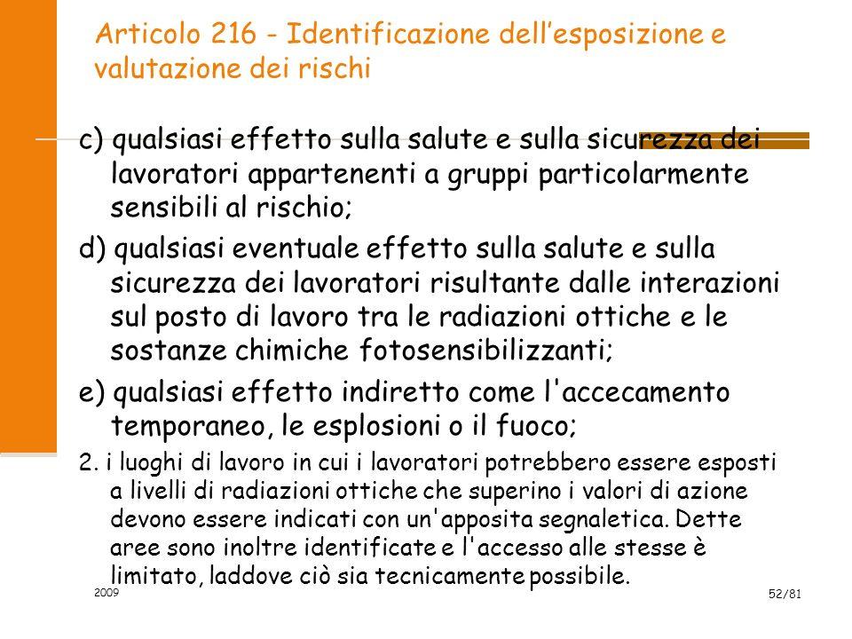 Articolo 216 - Identificazione dell'esposizione e valutazione dei rischi