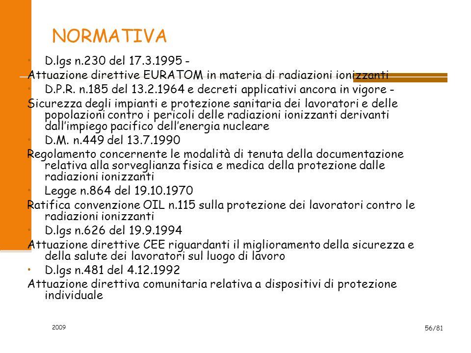 NORMATIVA D.lgs n.230 del 17.3.1995 - Attuazione direttive EURATOM in materia di radiazioni ionizzanti.