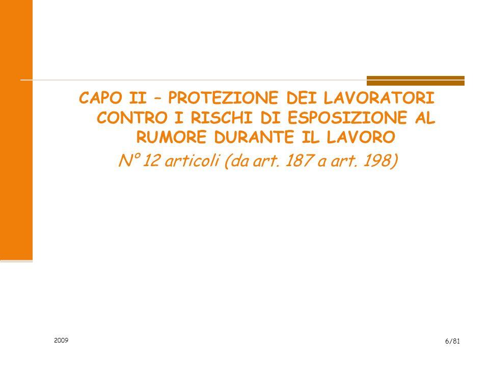 CAPO II – PROTEZIONE DEI LAVORATORI CONTRO I RISCHI DI ESPOSIZIONE AL RUMORE DURANTE IL LAVORO N° 12 articoli (da art. 187 a art. 198)