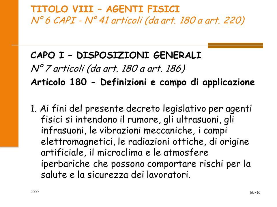 TITOLO VIII – AGENTI FISICI N° 6 CAPI - N° 41 articoli (da art