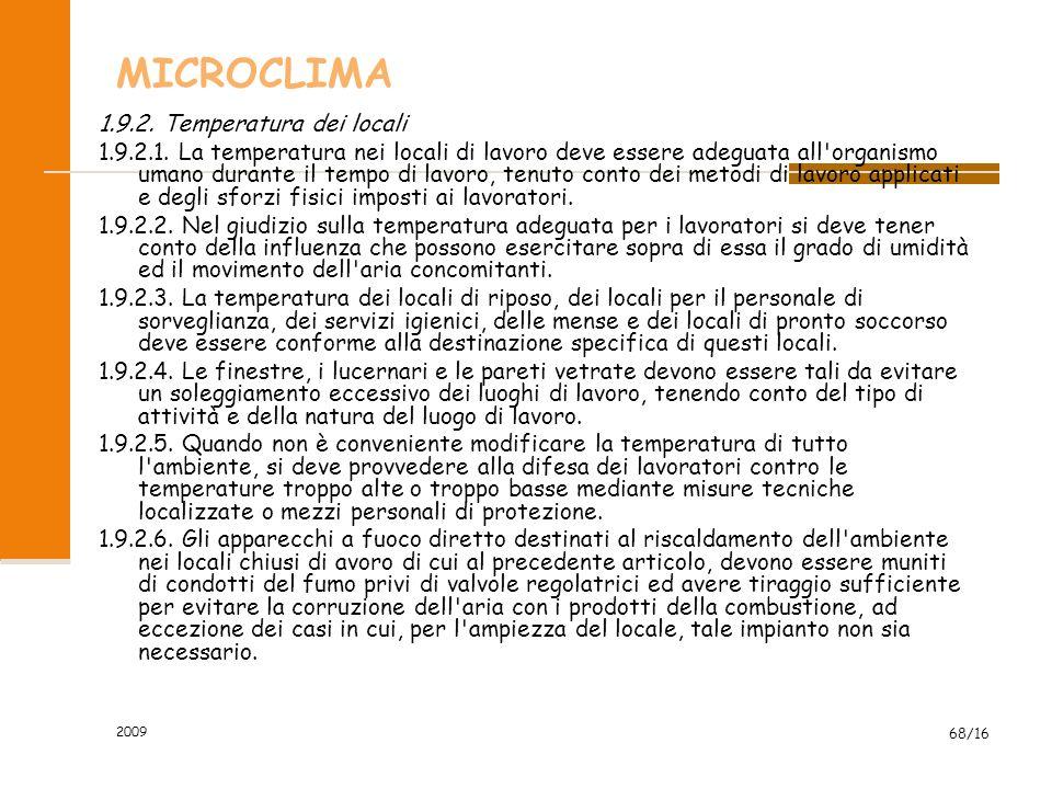 MICROCLIMA 1.9.2. Temperatura dei locali