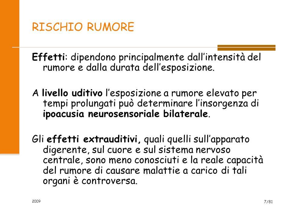 RISCHIO RUMORE Effetti: dipendono principalmente dall'intensità del rumore e dalla durata dell'esposizione.