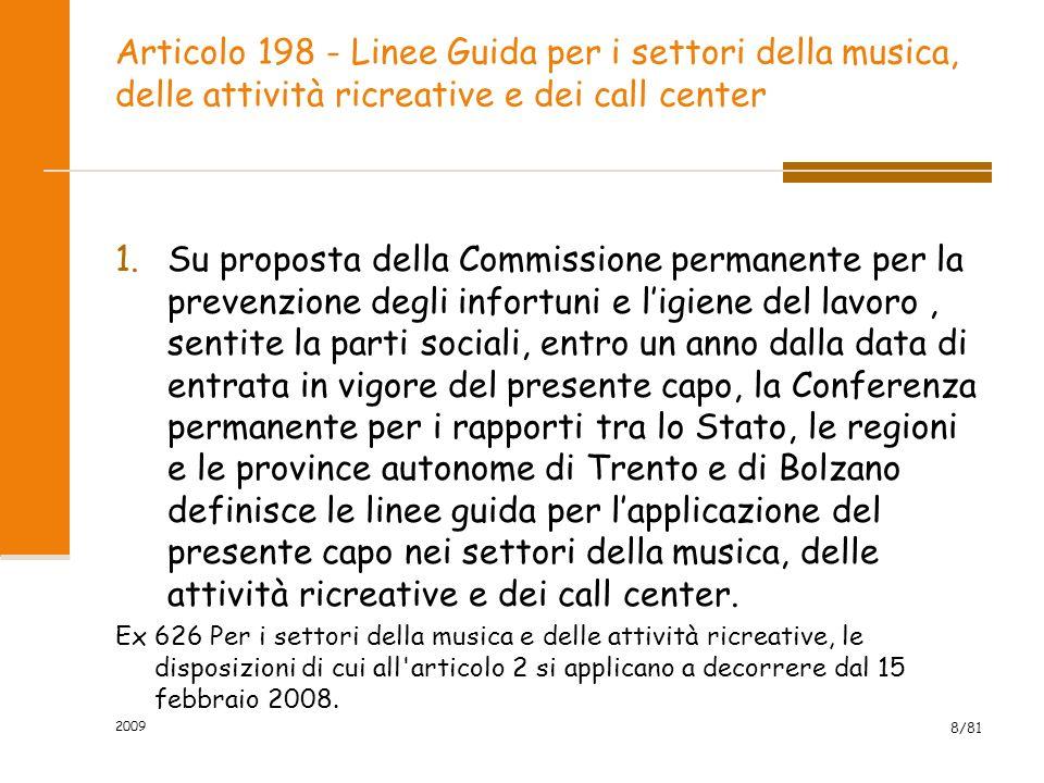 Articolo 198 - Linee Guida per i settori della musica, delle attività ricreative e dei call center