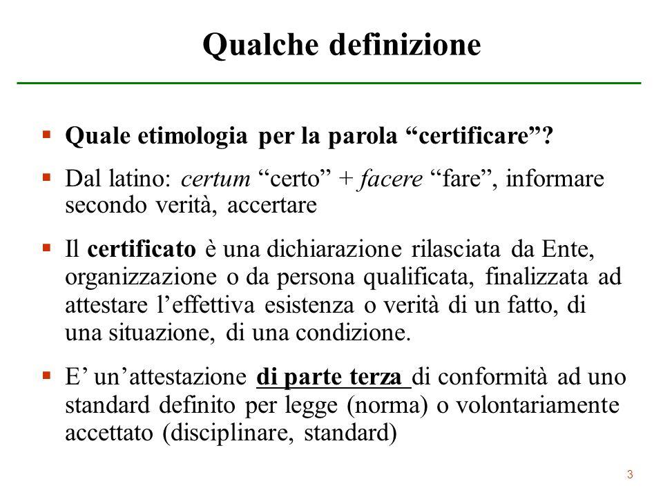 Qualche definizione Quale etimologia per la parola certificare