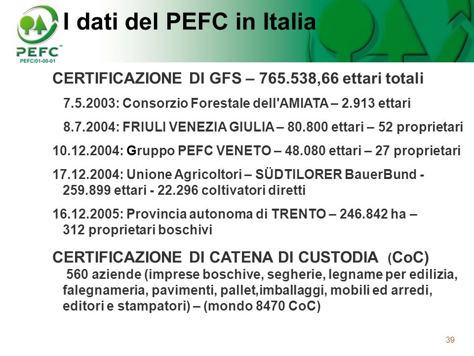 I dati del PEFC in Italia