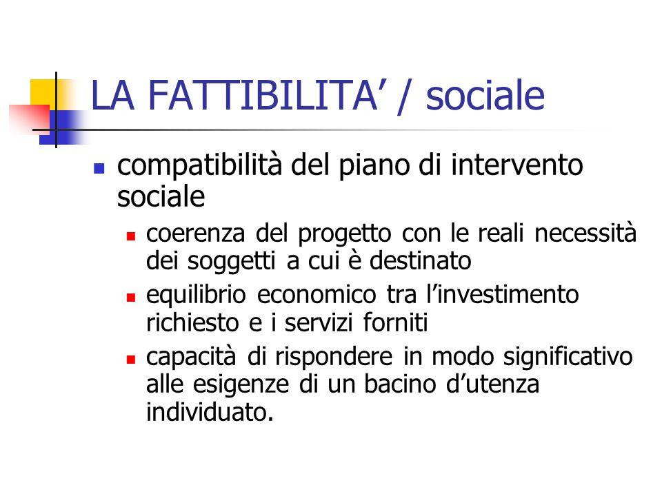 LA FATTIBILITA' / sociale