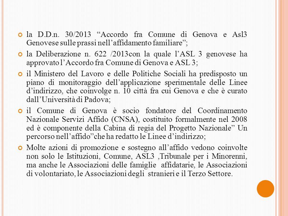 la D.D.n. 30/2013 Accordo fra Comune di Genova e Asl3 Genovese sulle prassi nell'affidamento familiare ;