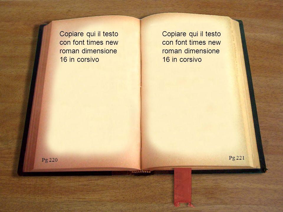 Copiare qui il testo con font times new roman dimensione 16 in corsivo