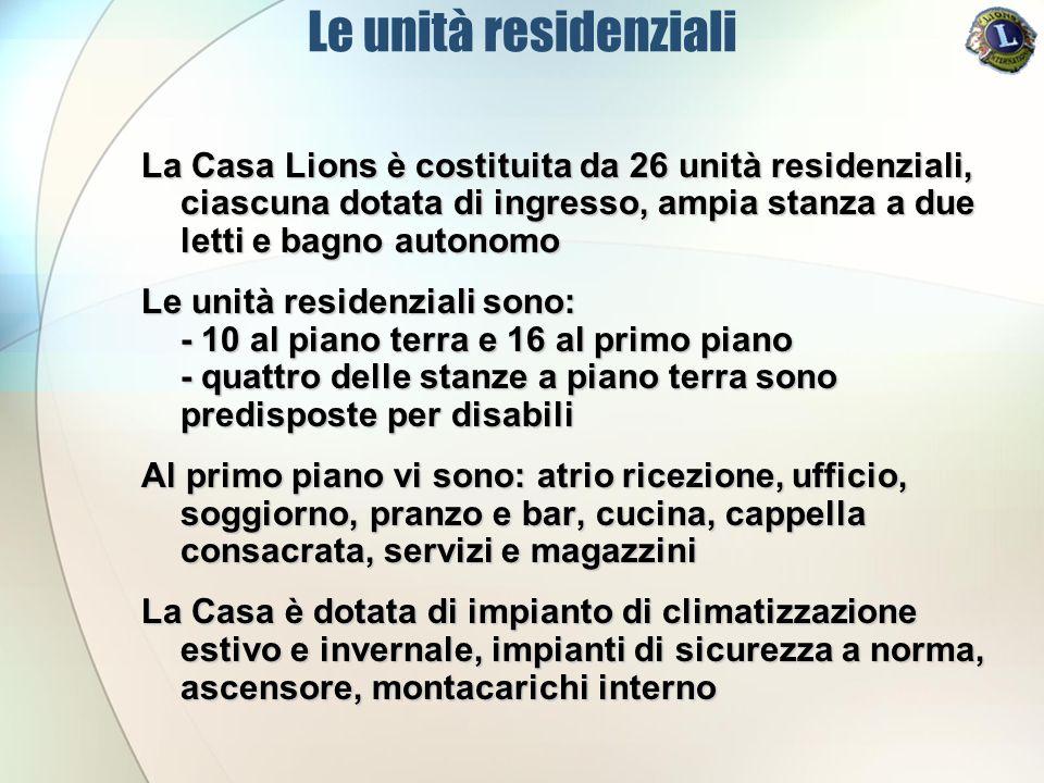 Le unità residenziali La Casa Lions è costituita da 26 unità residenziali, ciascuna dotata di ingresso, ampia stanza a due letti e bagno autonomo.