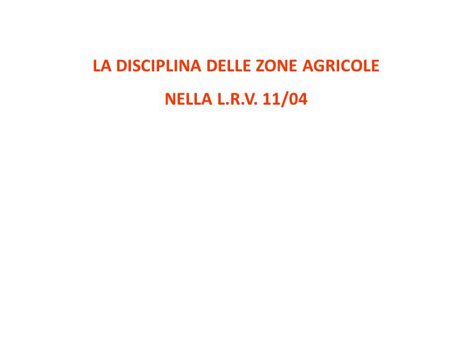 LA DISCIPLINA DELLE ZONE AGRICOLE