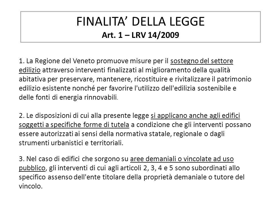 FINALITA' DELLA LEGGE Art. 1 – LRV 14/2009