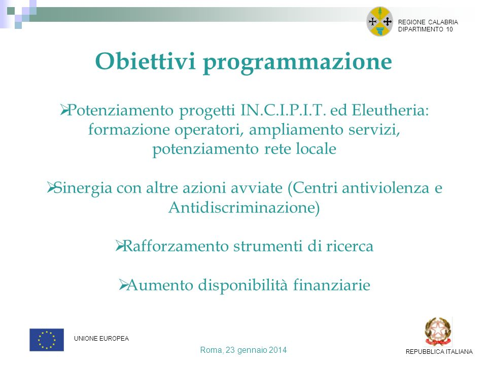 Obiettivi programmazione