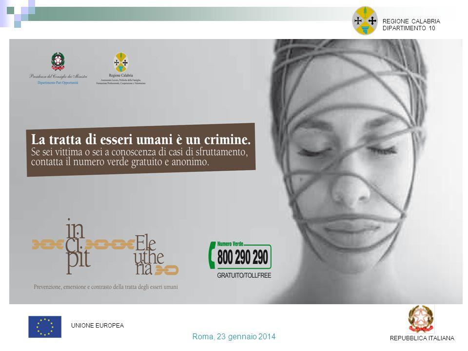 Roma, 23 gennaio 2014 REGIONE CALABRIA DIPARTIMENTO 10 UNIONE EUROPEA